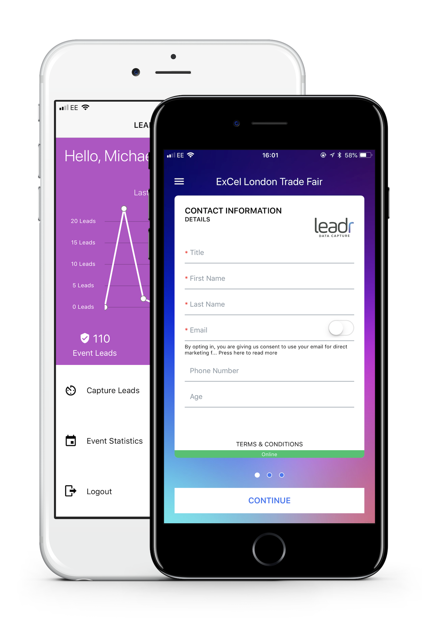 Leadr Data Capture, Event Application, Capture your data seamlessly, online and offline.